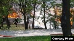 Пожар во бараките на Завод за урбанизам во Скопје. Фото: novatv.mk