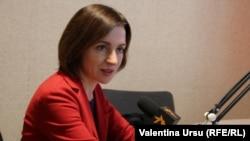 Maia Sandu în studioul Europei Libere de la Chișinău.