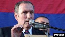 "Opposition leader Levon Ter-Petrossian addresses thousands of supporters who rallied in Yerevan on May 31. ""It doesn't mean that we should not take into account...the agenda and counterarguments presented by the authorities,"" he said."