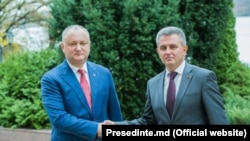 Președintel Igor Dodon și liderul transnistrean Vadim Krasnoselski la Holercani, 29 octombrie 2019