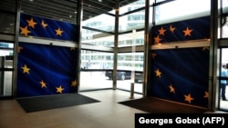 Belgium - he entrance of EU Commission Berlaymont building in Brussels, 21May2014