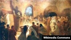 Ян Стыка. Апостол Петр проповедует в катакомбах. 1902