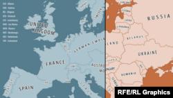 Europa înainte de Primul Război Mondial și în zilele noastre