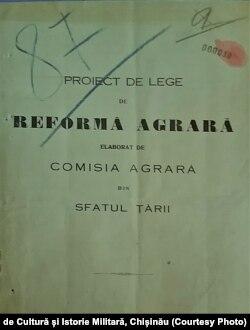 Proiectul reformei agrare elaborat de Comisia Agrară