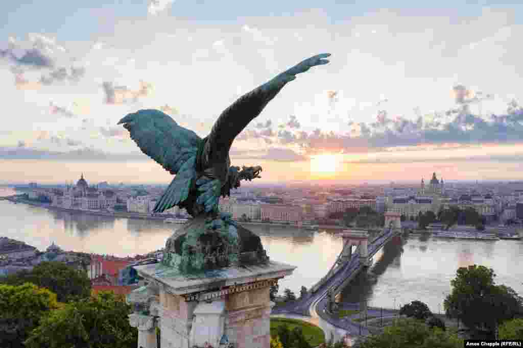 A turul -- a giant bird of prey from Hungarian mythology -- is perched on a pedestal in Budapest's Royal Castle.