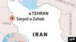 Map locating Sarpol-e Zahab, location of an earthquake in western Iran.