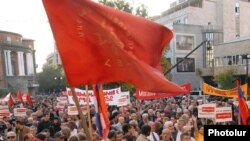 Armenian Revolutionary Federation supporters rally in Yerevan to condemn agreement with Turkey in October.