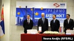 Kiril Kavčenko, direktor NIS-a, bivši predsednik Srbije Boris Tadić i direktor Gasproma Alexej Miller, Pančevo, novembar 2011.