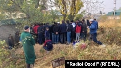 The November 7 funeral ceremony for Izatullo Latifiov, a Tajik border guard killed in the attack.