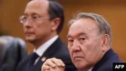 Президент Казахстана Нурсултан Назарбаев (на переднем плане). Пекин, 7 июня 2018 года.