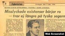 Статья в газете «Экспрессен» от 9 декабря 1944 г.