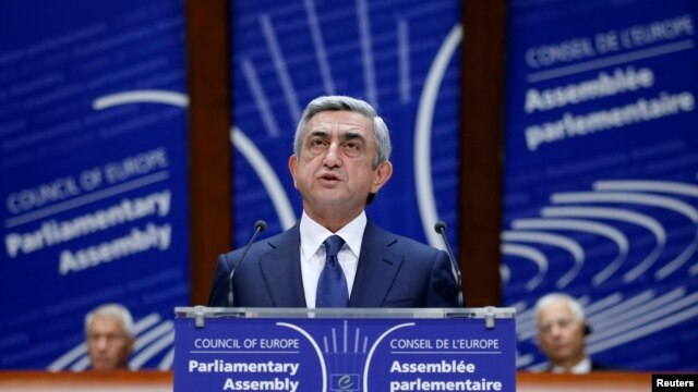France -- Armenian President Serzh Sarkisian addresses the Parliamentary Assembly of the Council of Europe in Strasbourg, October 2, 2013