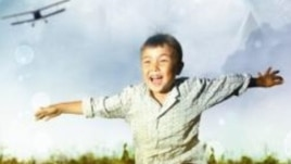 "A promotional image for the first film in the series ""The Sky Of My Childhood,"" depicts a young Nazarbaev."