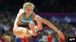 Олимпийская чемпионка в прыжках в длину Ольга Рыпакова. Лондон, 3 августа 2012 года.