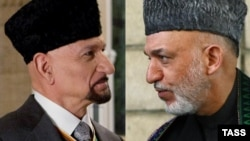 "A combo photo of British actor Ben Kingsley in ""The Dictator"" (left) and Afghan President Hamid Karzai"