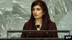 Pakistani Foreign Minister Hina Rabbani Khar addresses the UN's 66th General Assembly in September 2011.