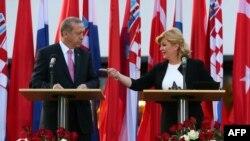 Predsjednica Hrvatske Kolinda Grabar Kitarović i turski predsjednik Redžep Tajip Erdogan u Zagrebu, april 2016.