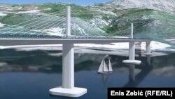 Nacrt mosta iz studije o izvodljivosti.