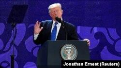 Вьетнам. АҚШ президенти Дональд Трамп Дананг шаҳрида APEC аъзолари олдида чиқиш қилди. 2017, 10 ноябрь.