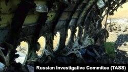 """Фрагмент самолета Sukhoi Superjet-100 авиакомпании """"Аэрофлот"""" после пожара"""