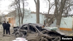 The site of one of the bomb blasts in the Daghestani city of Kizlyar