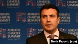 Macedonian Prime Minister Zoran Zaev speaks at the Adriatic Charter Summit in Podgorica, Montenegro, in August.