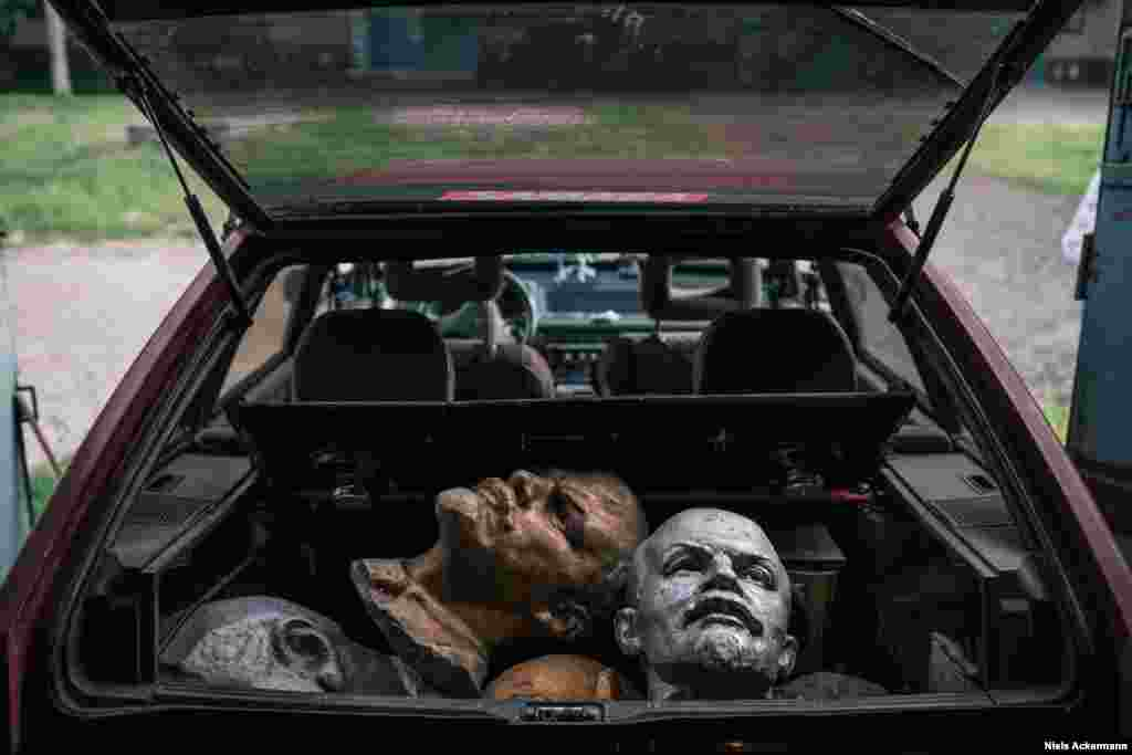 "Lenin heads for sale in Kryvyi Rih. ""It really puts in perspective all these dreams of leadership, which fuel many politicians, that yeah, you can be powerful and glorified, but in the end you may be sold for $150 in the trunk of a car,"" says Ackermann."