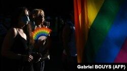 Participanți la parada LGBTQ+ din Madrid, 28 iunie 2020.