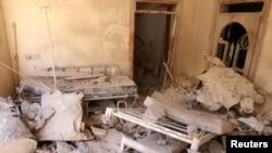 Разбамбаваны шпіталь ў сырыйскім горадзе Алепа, 1 кастрычніка 2016 году.
