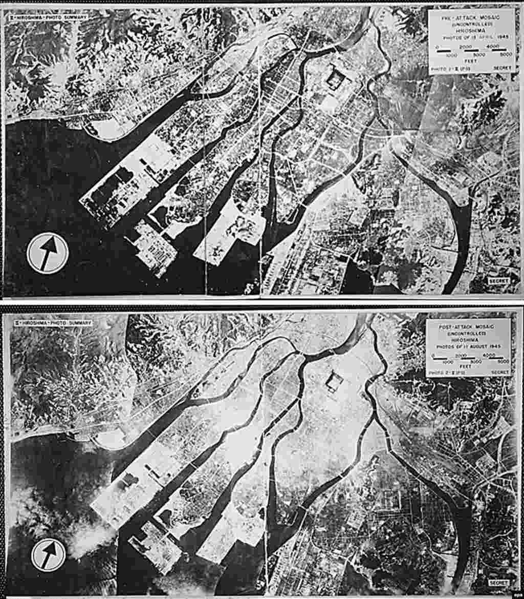 هیروشیما، قبل و بعد از بمباران
