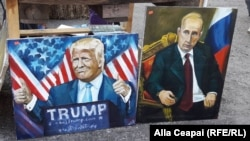 Портреты Дональда Трампа и Владимира Путина - продукция художника-любителя из молдавского города Бендеры