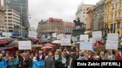 Umirovljenici su na prosvjedu u Zagrebu zatražili povećanje mirovina
