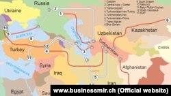 Транскаспійський газопровід, що об'єднав би Туркменистан та Азербайджан і дозволив постачати туркменський газ до вже діючого Південнокавказького, зробивши його джерелом наповнення газопроводу «Набукко». Росія заблокувала будівництво цього газогону