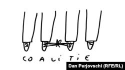 Coaliție, caricatură Dan Perjovschi