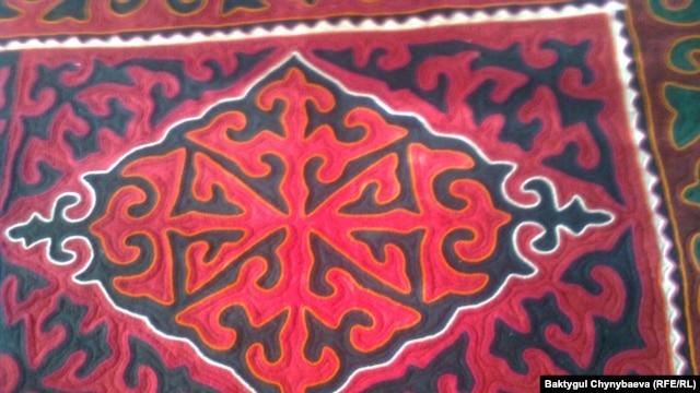 One of Jamabai-Kyzy's felt shyrdak rugs.