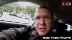 A still image taken from video circulated on social media, apparently taken by the gunman and posted online live as the attack unfolded, shows him driving in Christchurch on March 15.