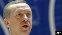 Turkish Prime Minister Recep Tayyip Erdogan addressing the Council of Europe's Parliamentary Assembly in Strasbourg