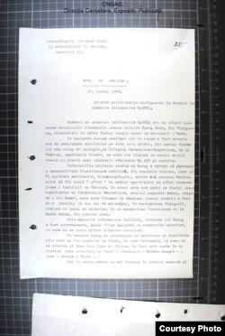 Pagină din nota de analiză a Securității (Sursă: ACNSAS, I 259075, vol. 5 ff. 225-226).