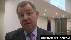 Armenia -- Erikas Petrikas, the Lithuanian ambassador to Armenia, speaks with RFE/RL's Armenian Service, 7Nov2013.