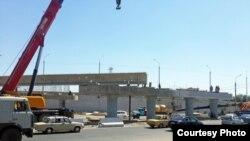 Строительство путепровода на месте разрушенного путепровода в Ташкенте. Фото: AsiaTerra.