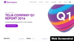 Скриншот веб-сайта компании Telia Company (бывшей TeliaSonera).