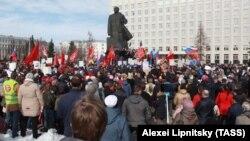 Митинг против ввоза мусора из московского региона на территорию Архангельской области, Архангельск, 7 апреля 2019 года