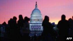 Clădirea Capitoliului din Washington D.C. înainte de ceremonia inaugurării președintelui Barack Obama în al doilea mandat, 21 ianuarie 2013.