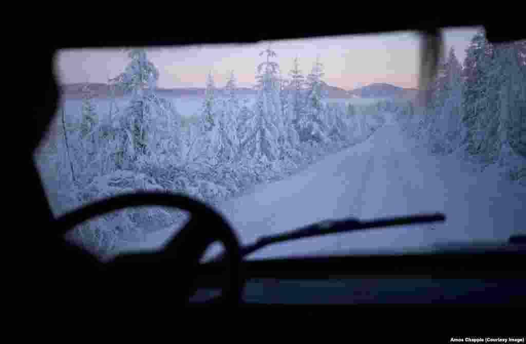 The view from a Soviet-era van during the two-day drive from Yakutsk, the regional capital, to Oymyakon.