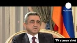 Президент Армении Серж Саргсян во время предыдущего интервью телеканалу Euronews