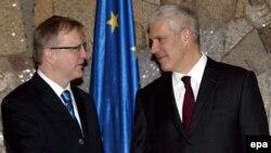 Oli Ren i Boris Tadić u Beogradu, 12. februara 2009.