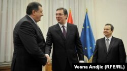 Aleksandar Vučić, Milorad Dodik i Ivica Dačić u Vladi Srbije