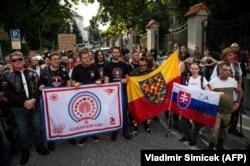 Митинг членов мотоклуба «Ночные волки» возле посольства России в Братиславе. 27 июля 2018 года