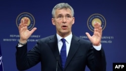 NATO Secretary-General Jens Stoltenberg addresses a joint press conference with the Turkish Foreign Minister following a meeting in Ankara on April 21.