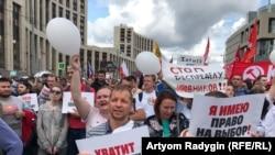 Митинг в поддержку оппозиционных кандидатов на выборах в Мосгордуму. Москва, 20 июля 2019 года.